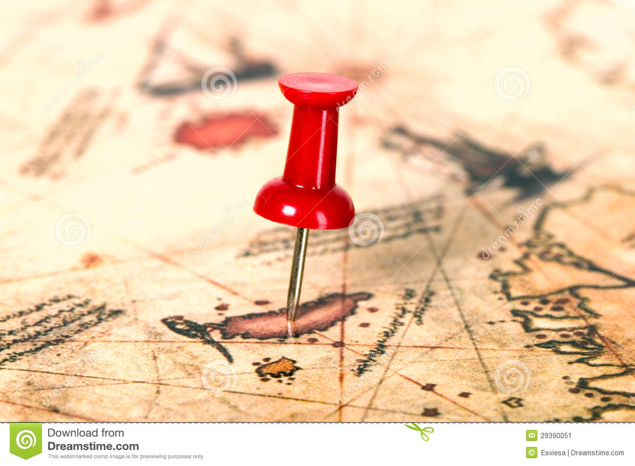 thumbtack in the world map stock image