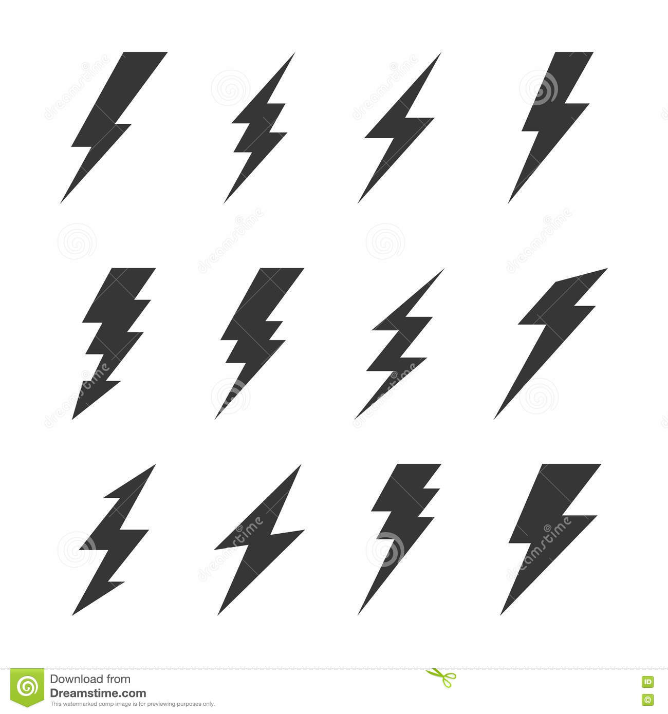 thunder and bolt lighting flash icons set vector stock vector illustration of element instant 97949187 dreamstime com