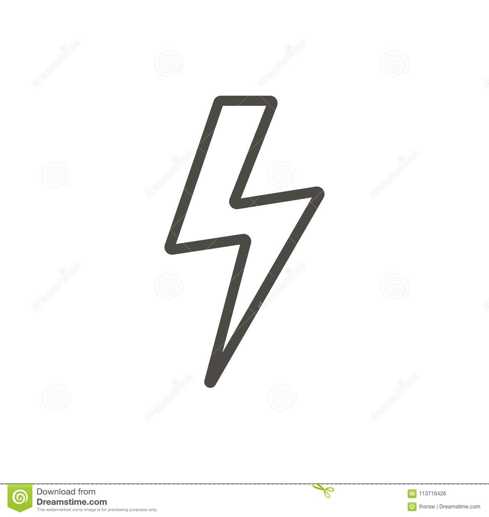 Thunder Icon Vector Line Lightning Bolt Symbol Stock Vector