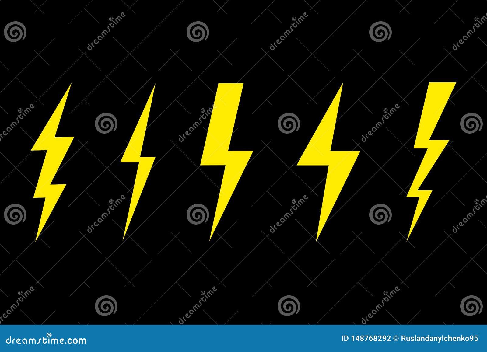Thunder And Lightning Lighting Bolt Flash Icon Set Set Of Lightning On A Black Background Vector Illustration Stock Vector Illustration Of Instantly Design 148768292