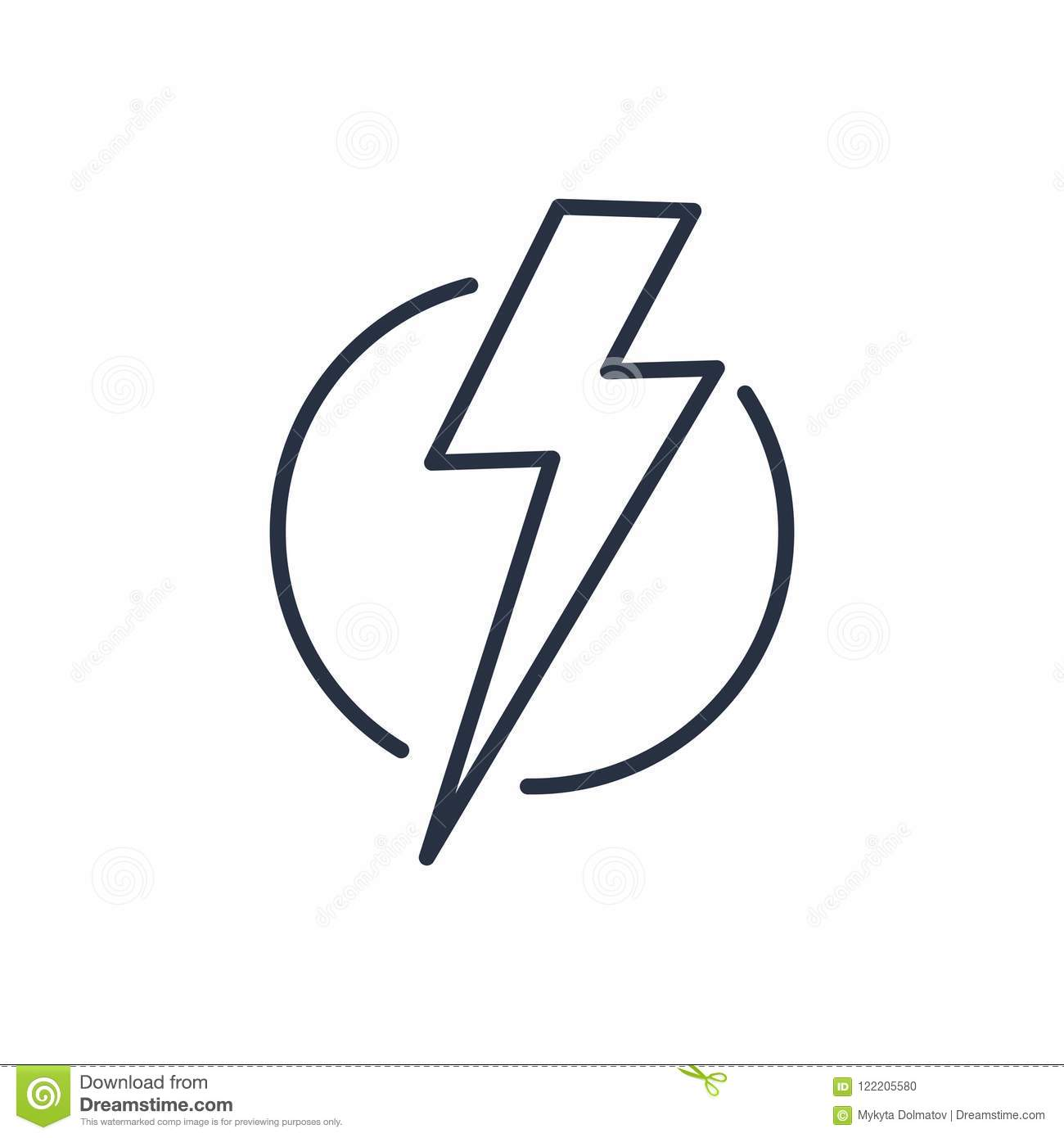 Thunder Strike In Circle Line Icon Stock Vector   Illustration of ...