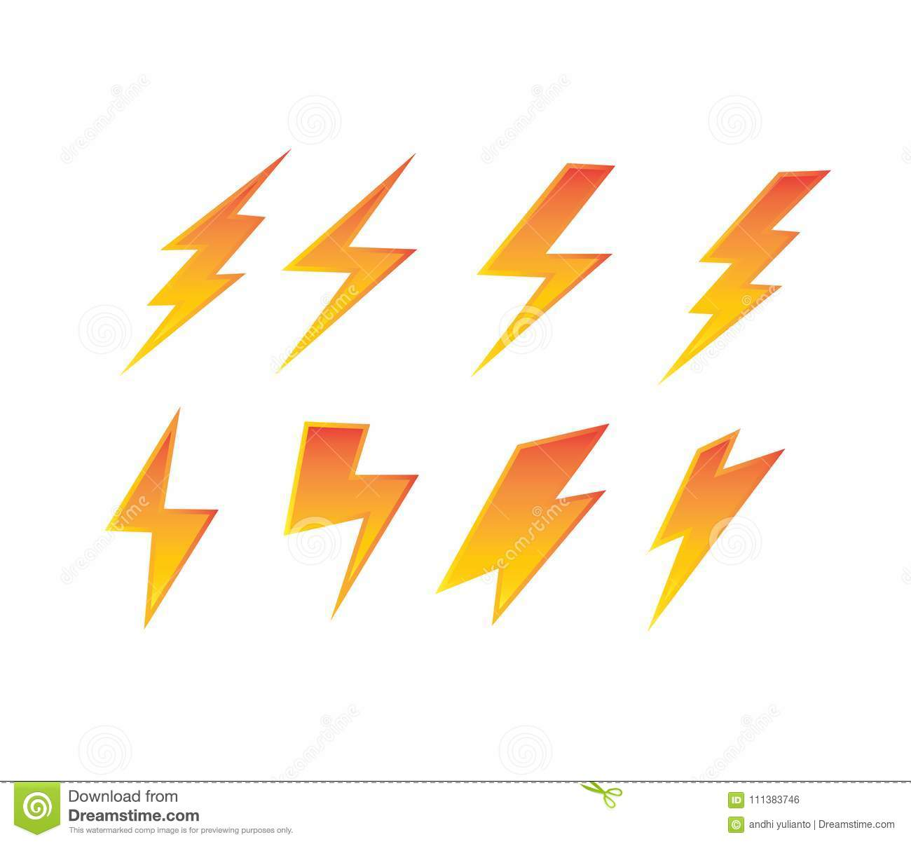 Thunderbolt Electric Symbol Set Power Electricity Vector Logo Design ...