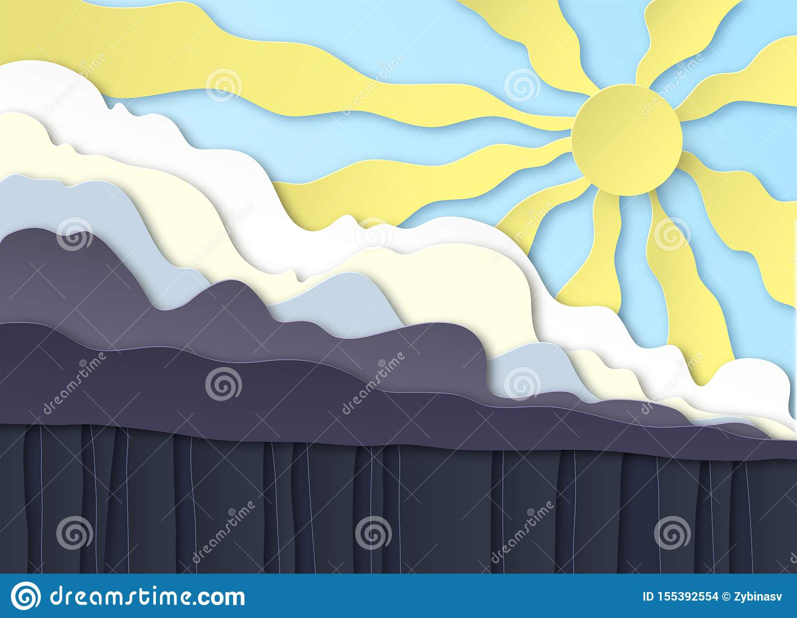 Thunderclouds. Rain on the ground, downpour. Above the clouds the sun shines in the blue sky. Layered design. Peper cut