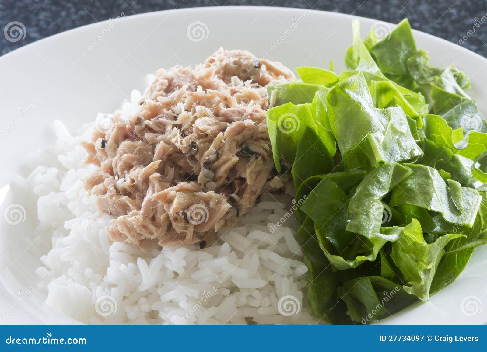Thunfisch auf Reis mit Spinat