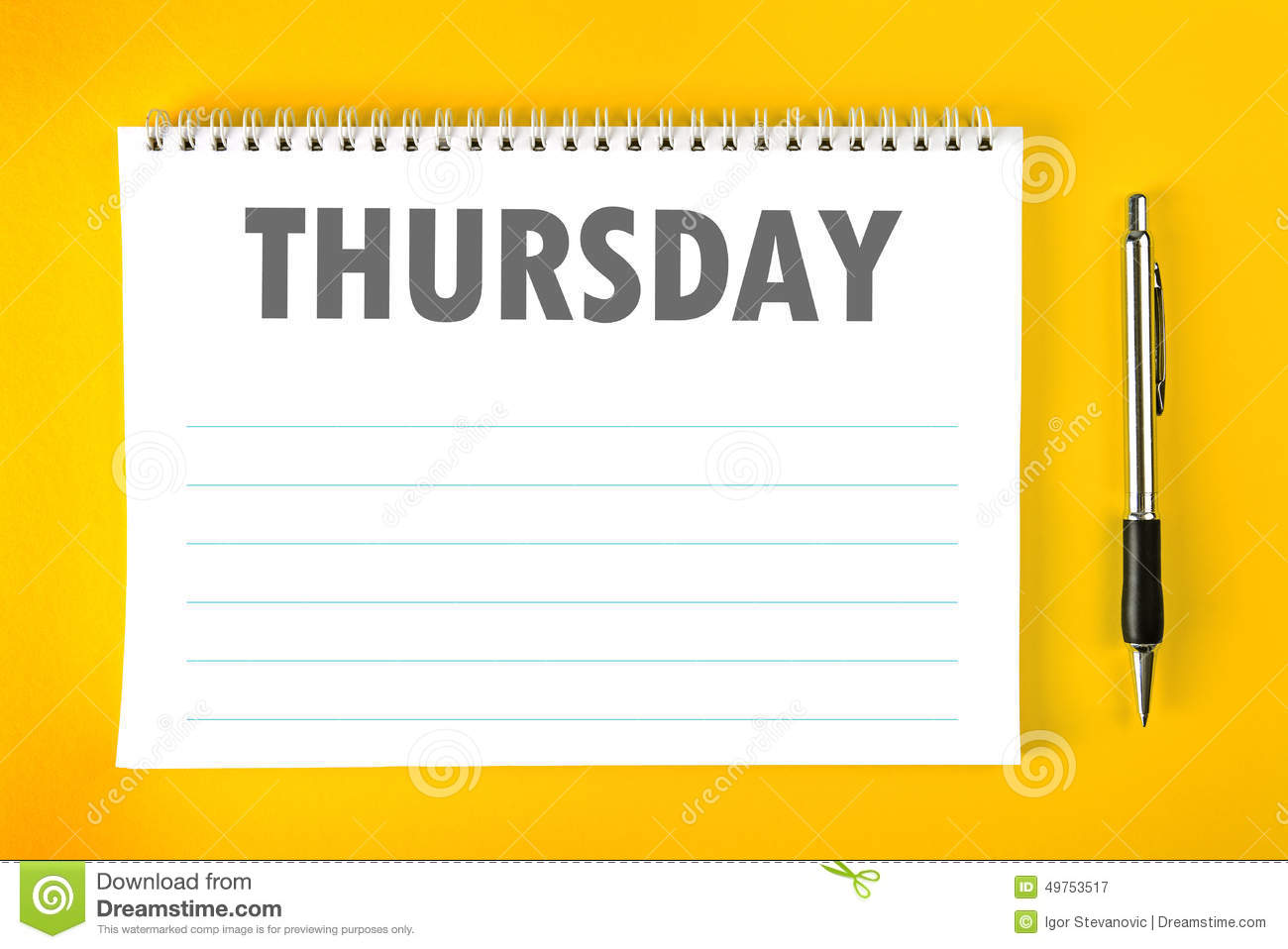 Thursday Calendar Schedule Blank Page Stock Photo Image