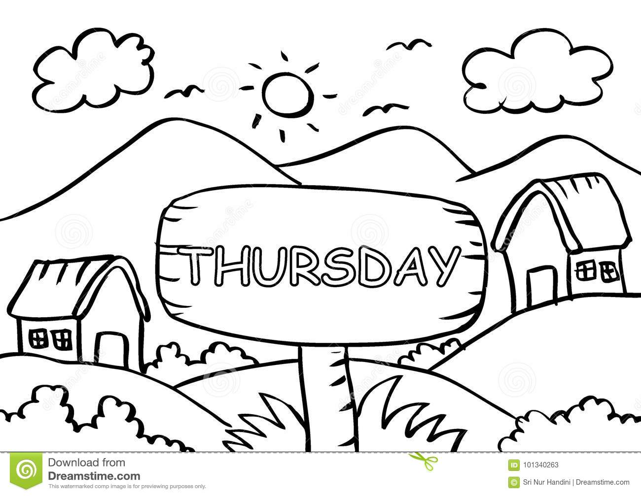 Thursday Coloring Page With Landscape Mountain Stock Vector