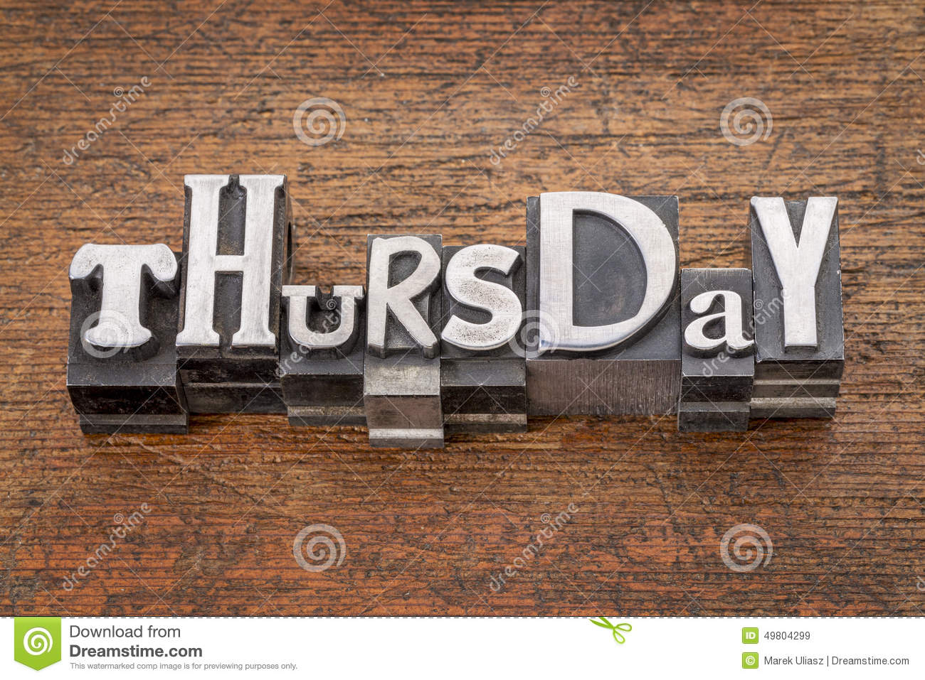 Thursday word in mixed vintage metal type printing blocks over grunge    Thursday Word
