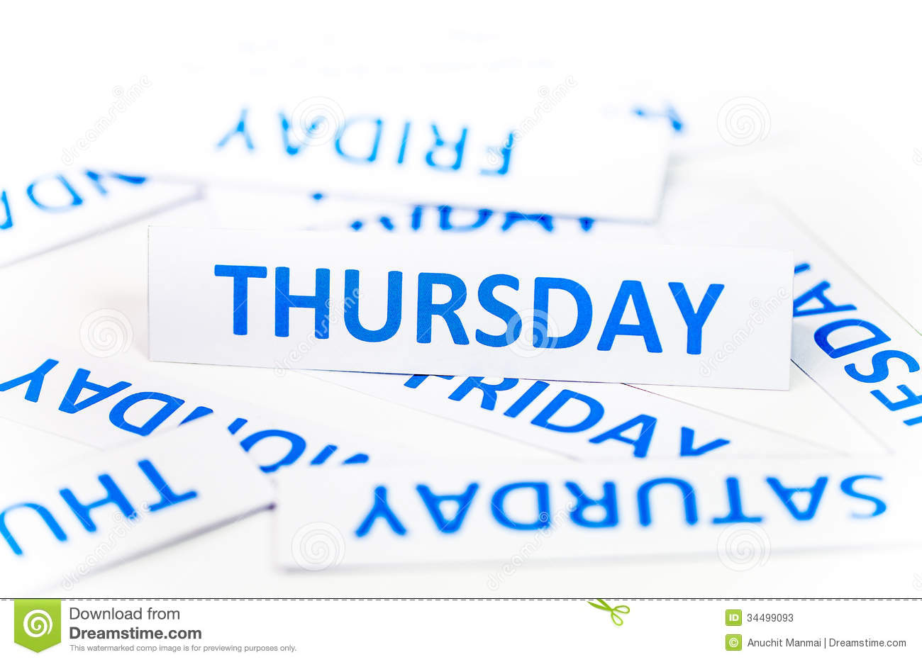 Thursday word is single word on a paper Thursday Word
