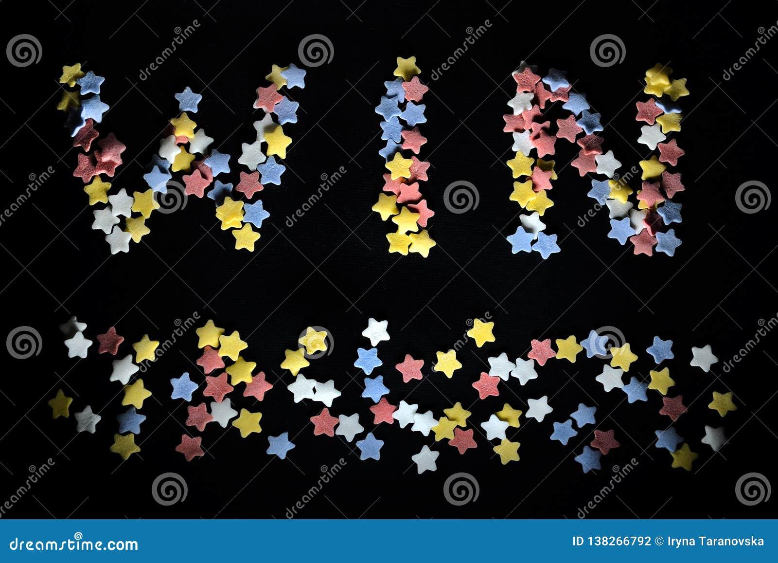 Thw ordseger i röd vit guling och blåa sockerstjärnor, för affär som arbeta som privatlärare åt, sportfans, framgång som segrar