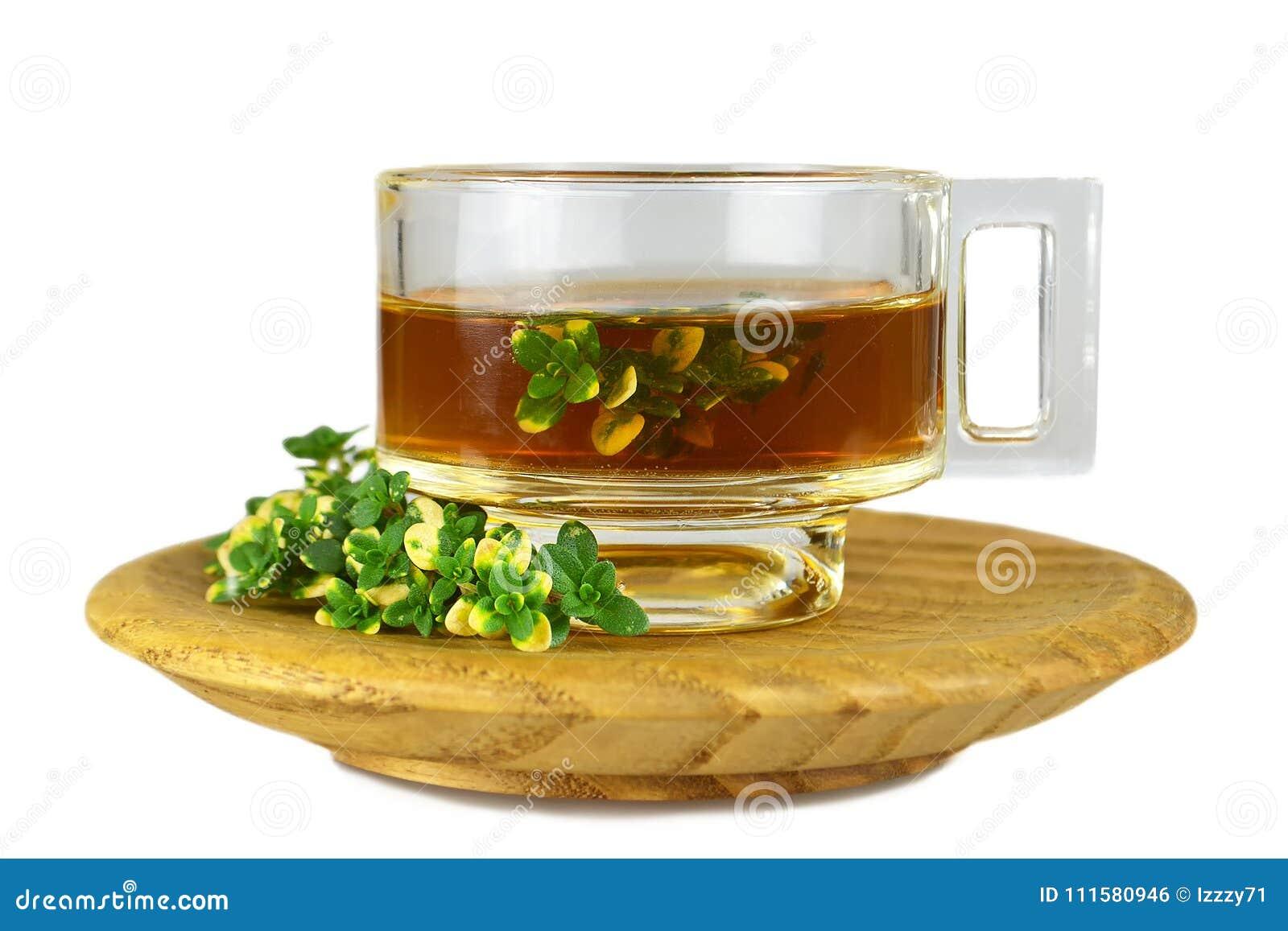 Thyme tea isolated on white