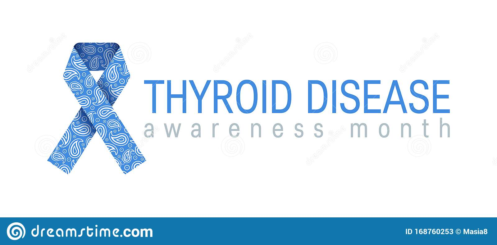 Thyroid Awareness Paisley Ribbon In Flat Style Stock Vector