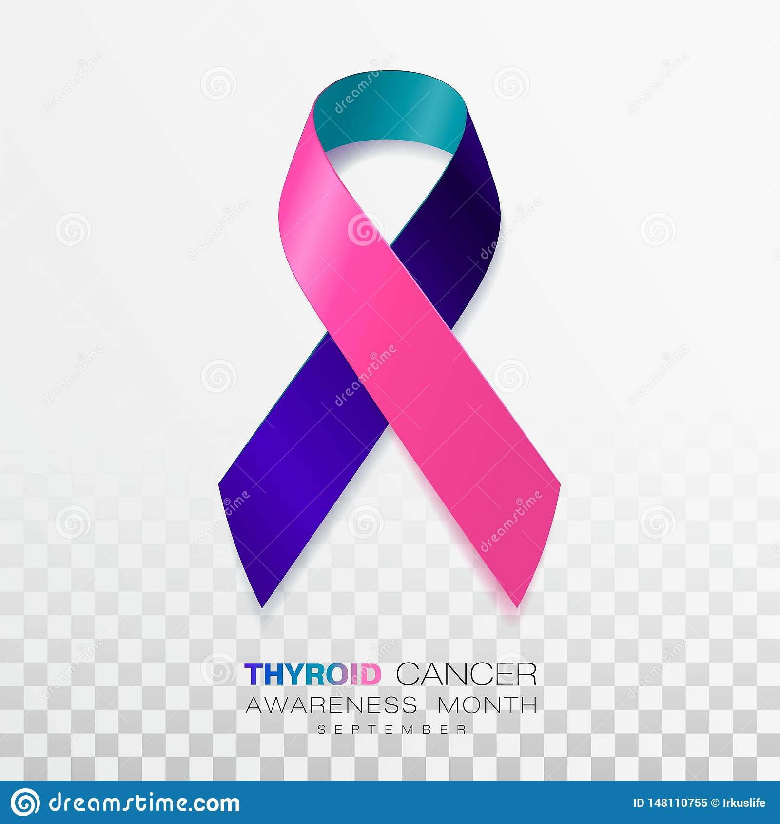 Thyroid Cancer Awareness Month Teal And Pink And Blue Color Ribbon Isolated On Transparent Background Vector Design Stock Vector Illustration Of Illness Care