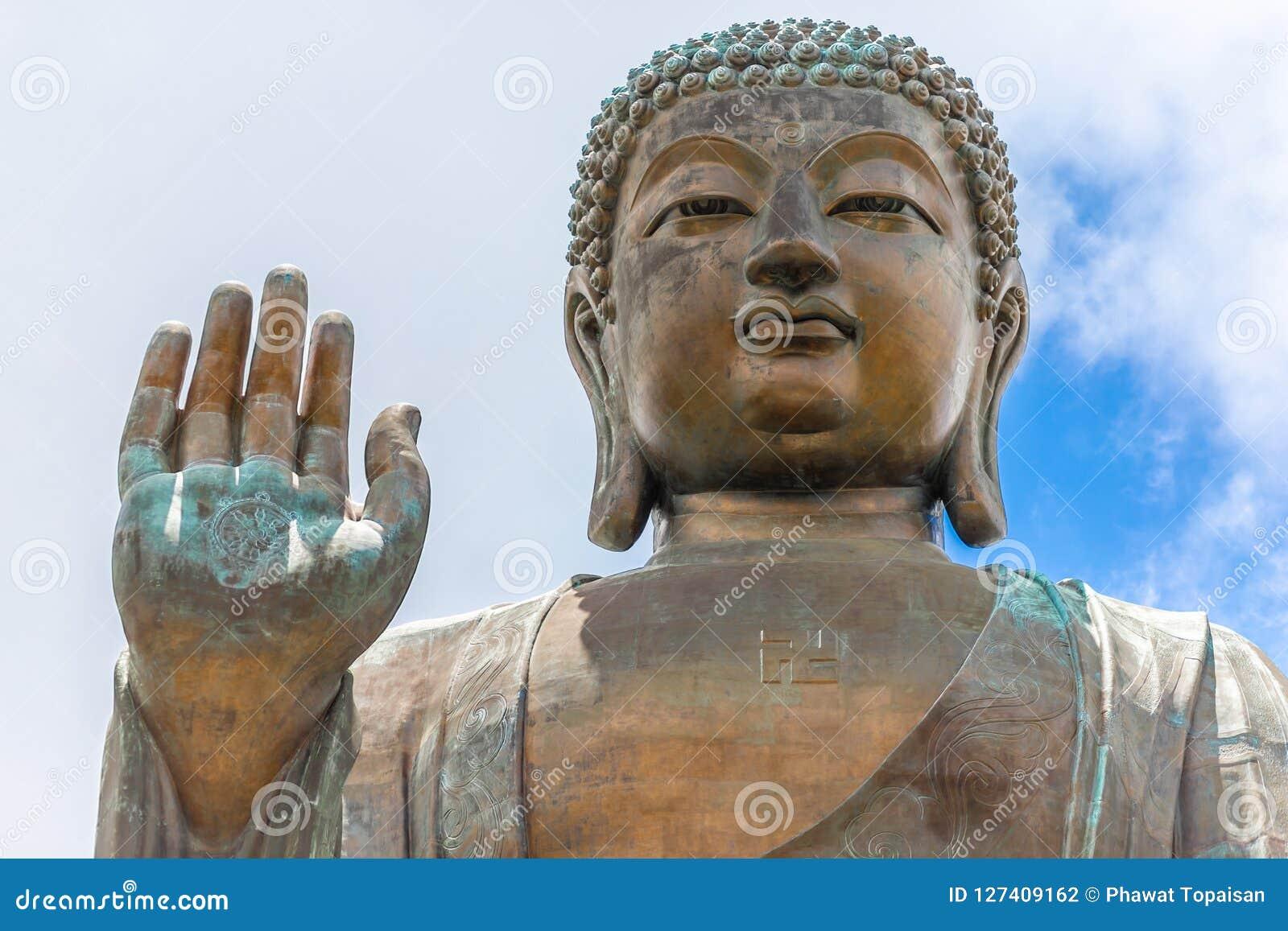Tian Tan Buddha, Budda grande, Tian Tan Buddha enorme em Po Lin Monastery em Hong Kong