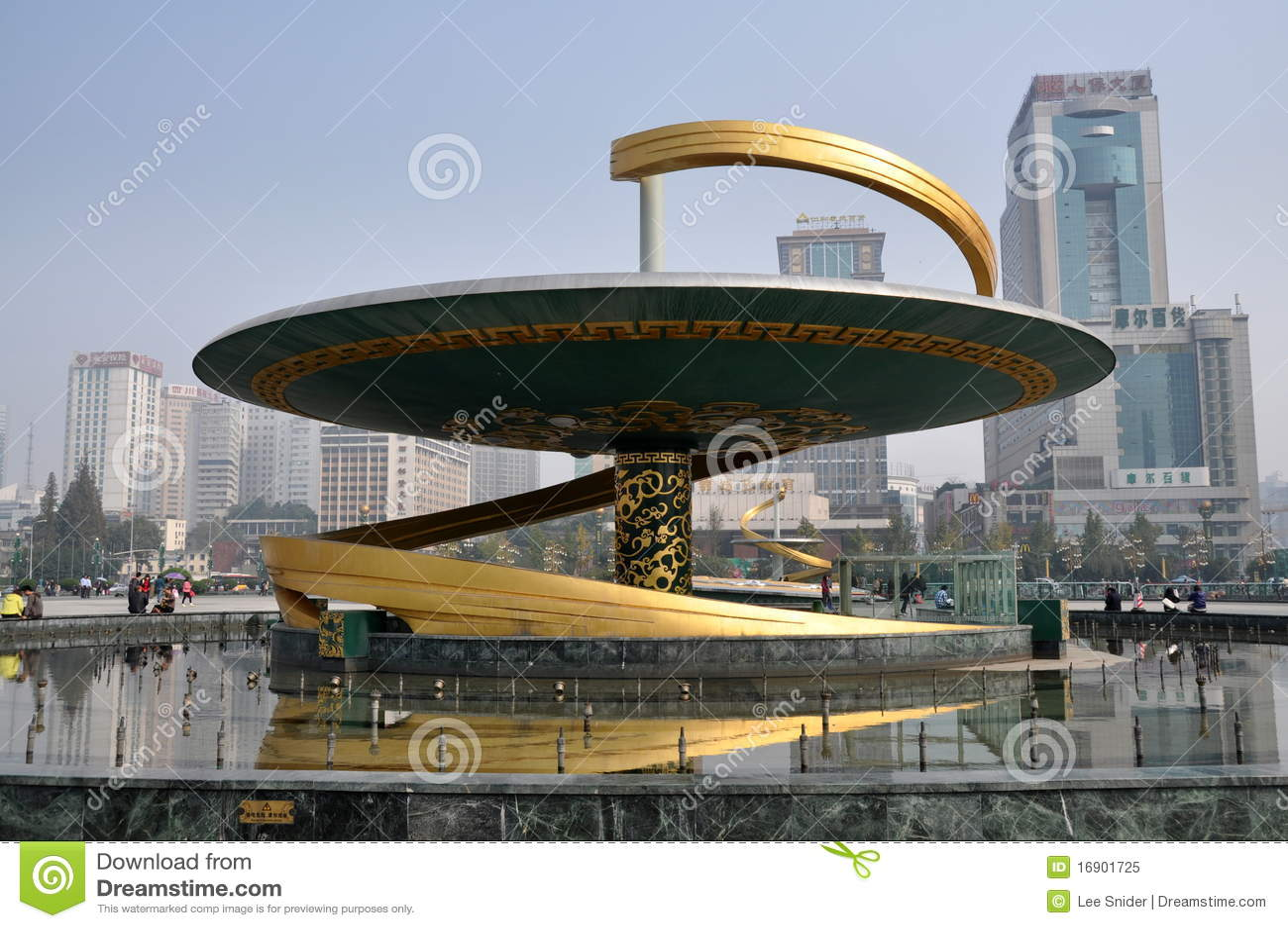 Tianfu квадрата фонтана дракона фарфора chengdu
