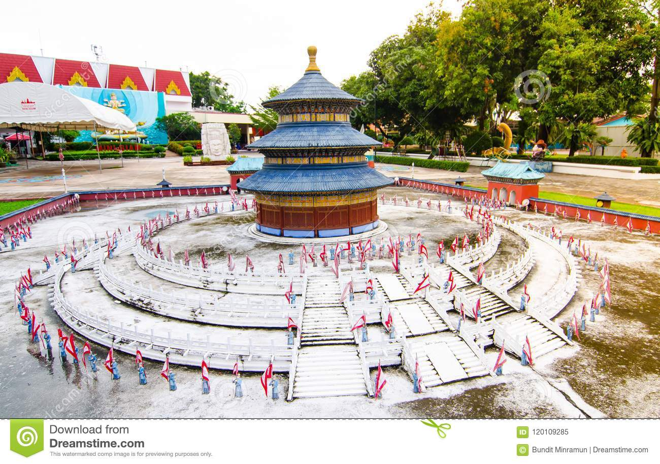 Tiantan temple of heaven at miniature park is an open space that displays miniature buildings and models.