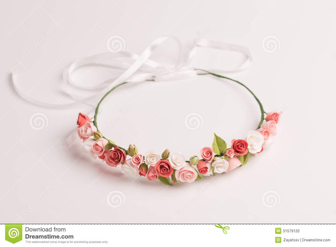 Tiara with handmade flowers on a white background stock photo image 51579120