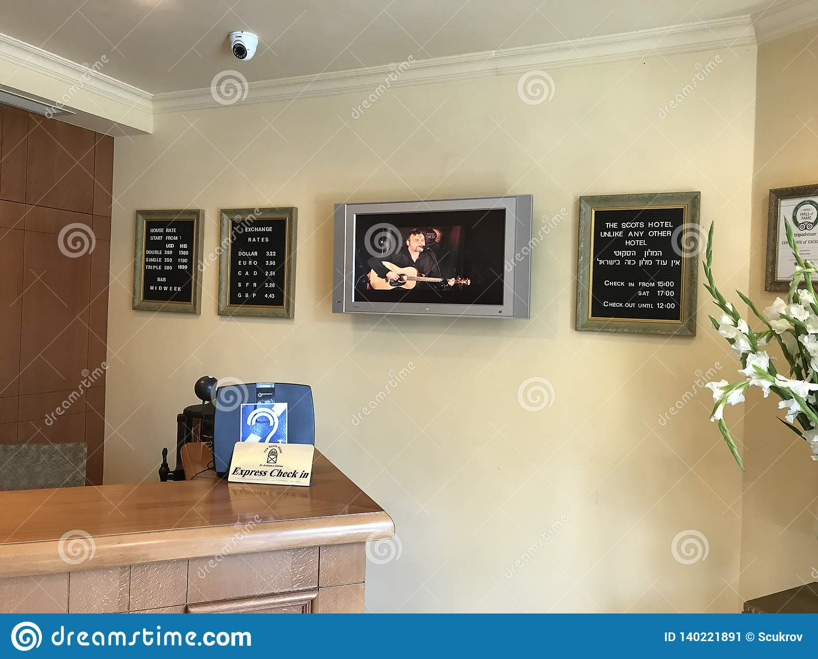 Scots Hotel Front Desk editorial photo. Image of interior ...