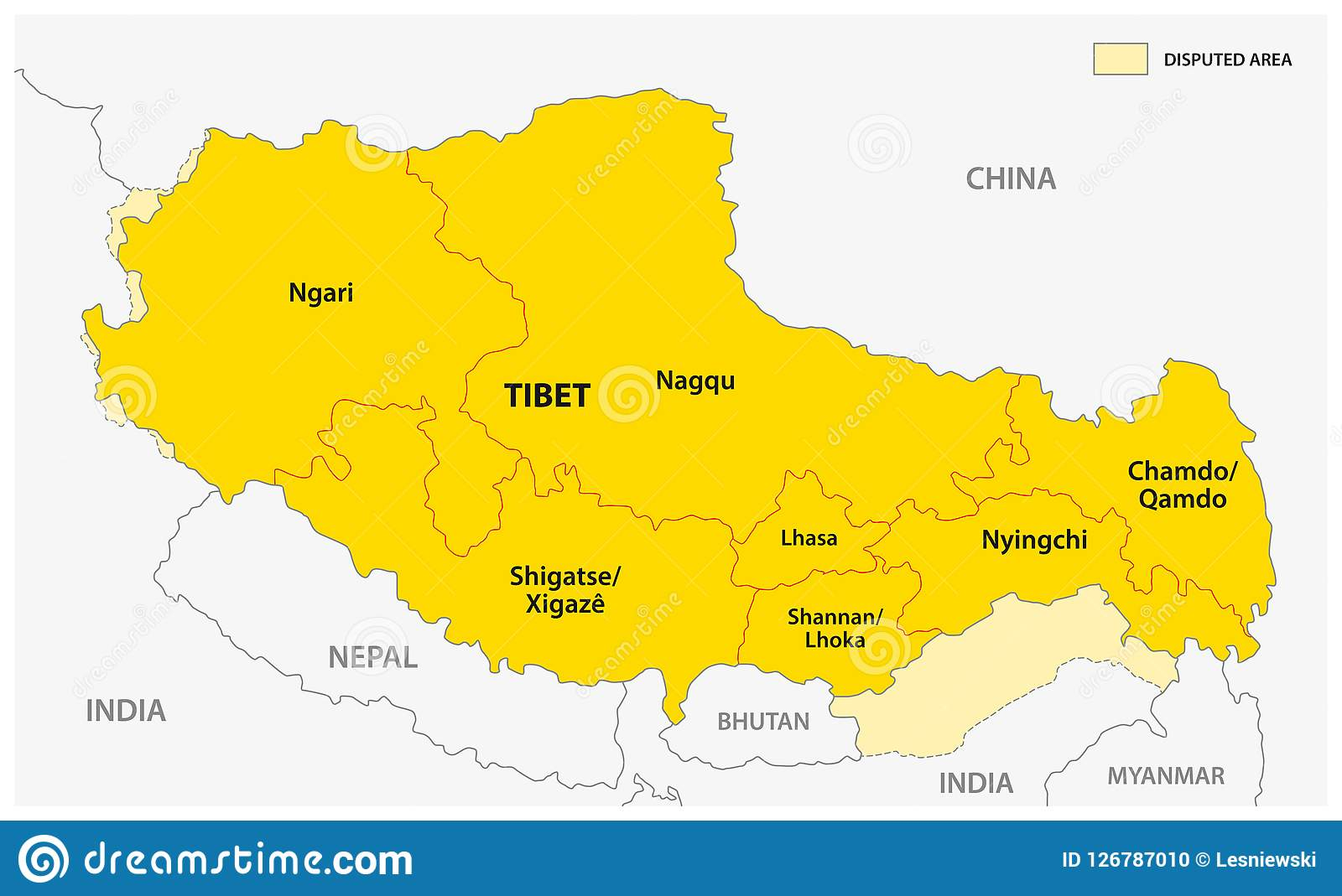 Tibet Administrative And Political Vector Map With Disputed Border