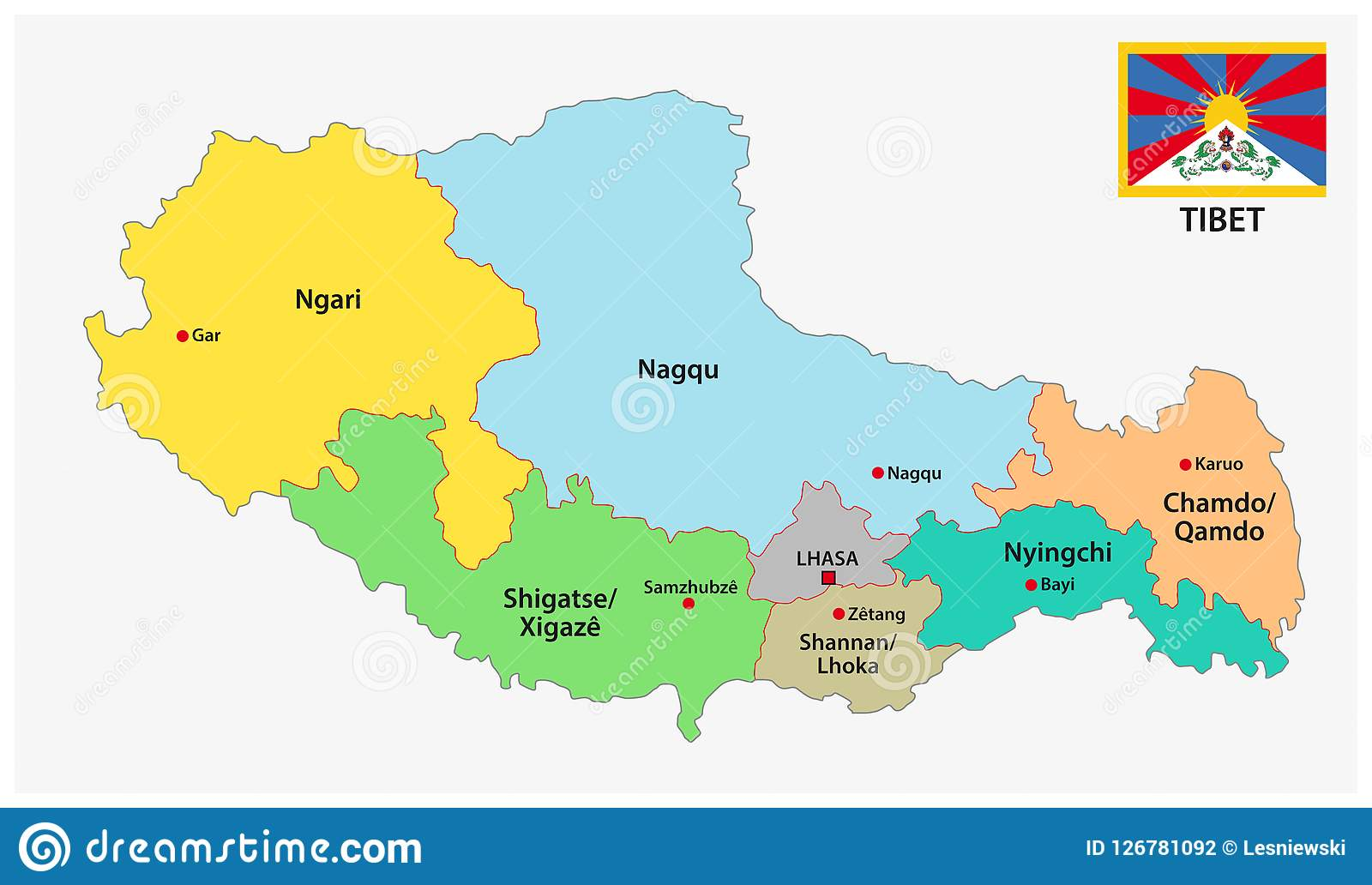 Tibet Administrative And Political Vector Map With Flag Stock