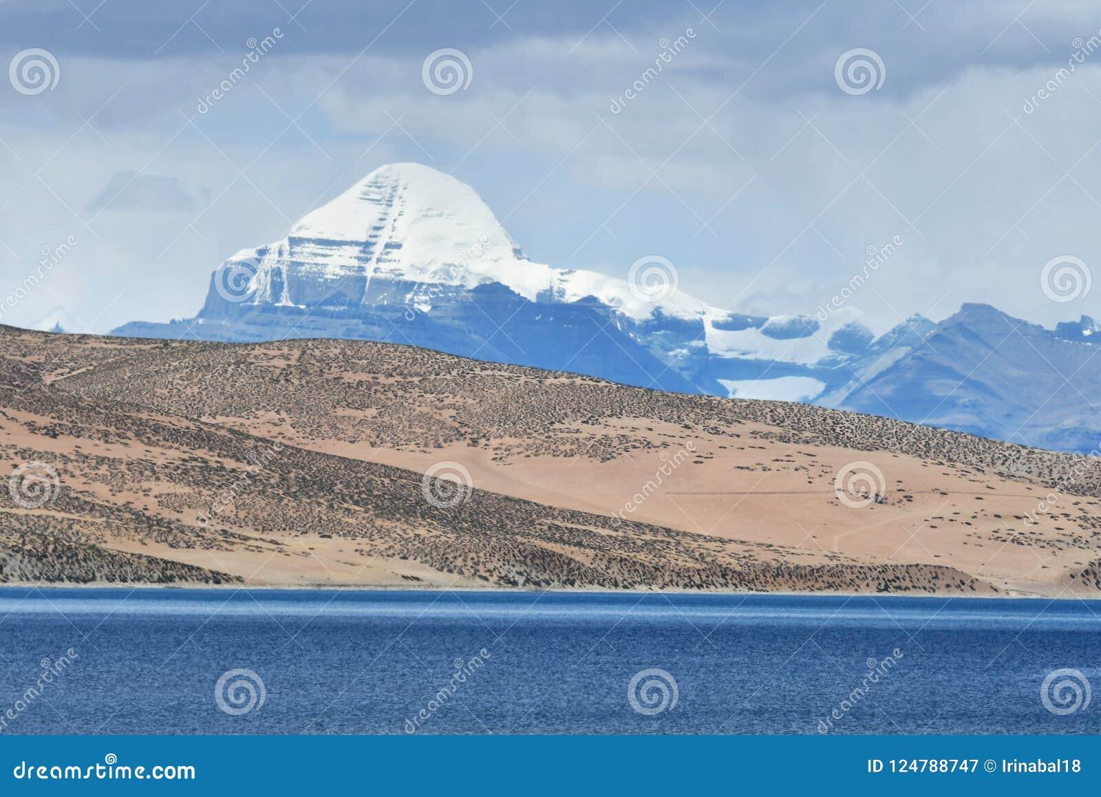 Tibet. Sacred lake Manasarovar and southern face of Kailas