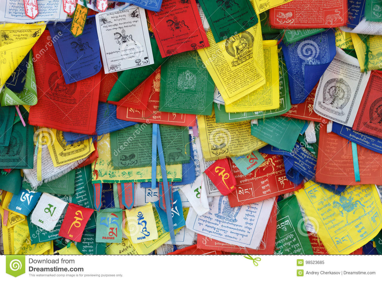 Tibetan Buddhism Prayer Flags (lungta) With Om Mani Padme