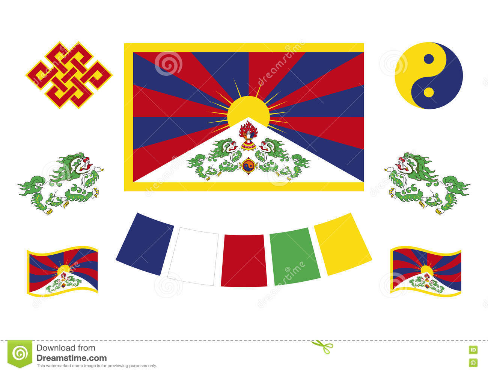 Tibetan Flag And Symbols Stock Vector Illustration Of Buddhism