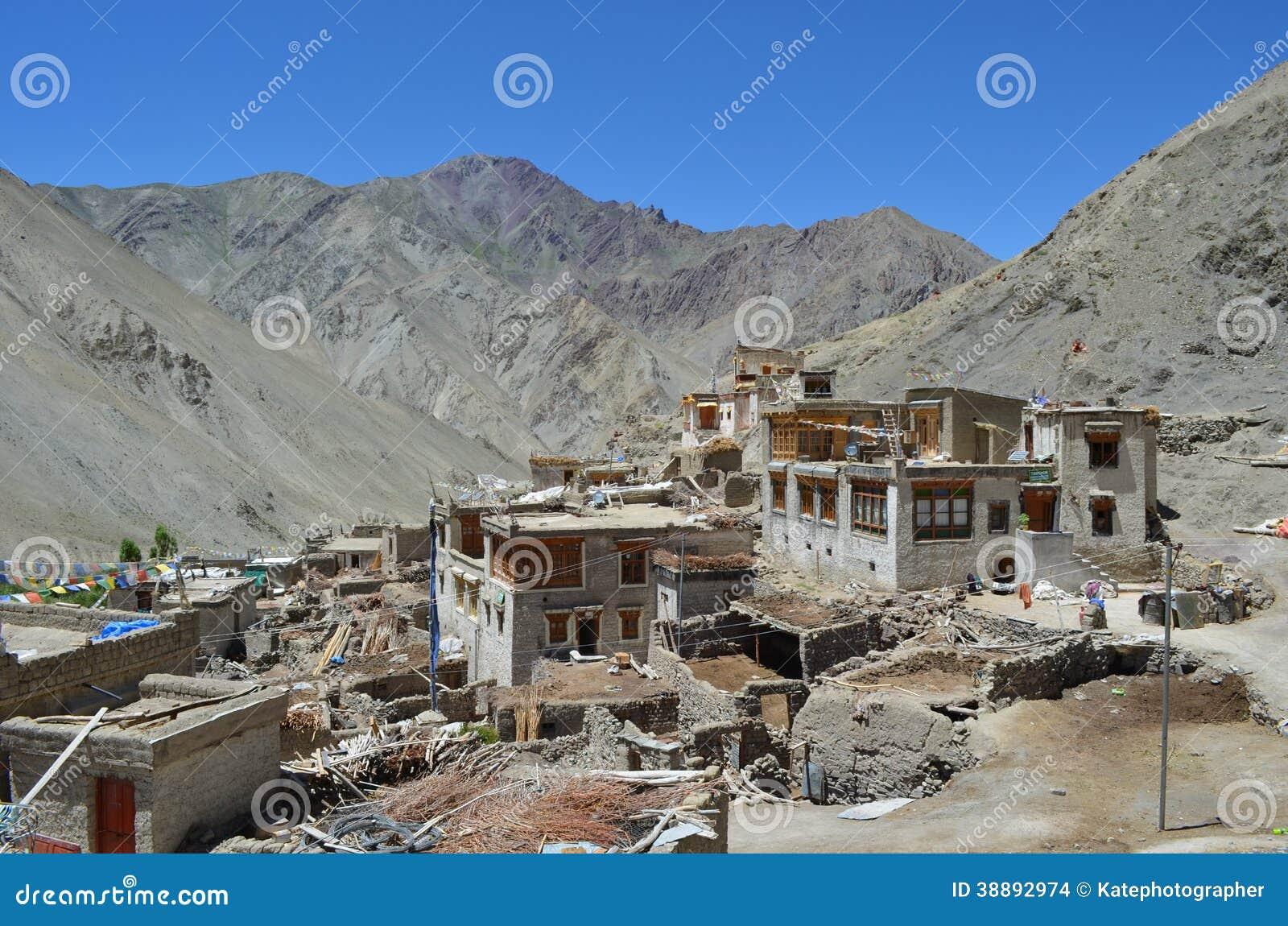 Tibetan Houses In Himalayas Range India Stock Photo
