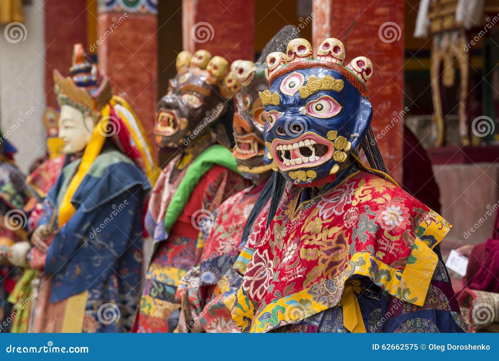 4827fbf9d LAMAYURU, INDIA - JUNE 13, 2015: An unidentified buddhist lamas dressed in  mystical mask dancing Tsam mystery dance in time of Yuru Kabgyat Buddhist  ...