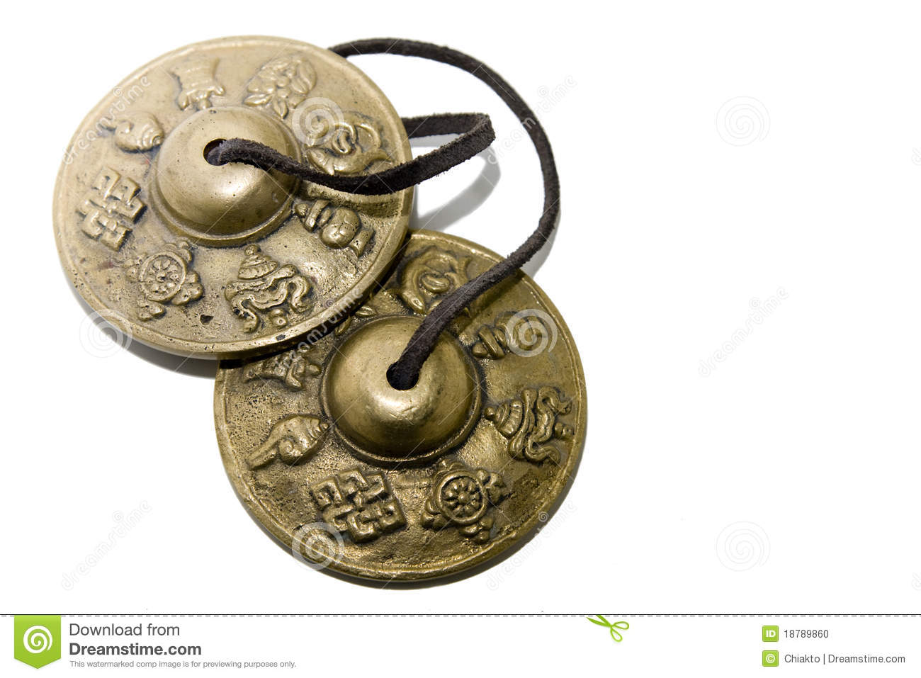 Tibetan antique musical instrument on a white background.