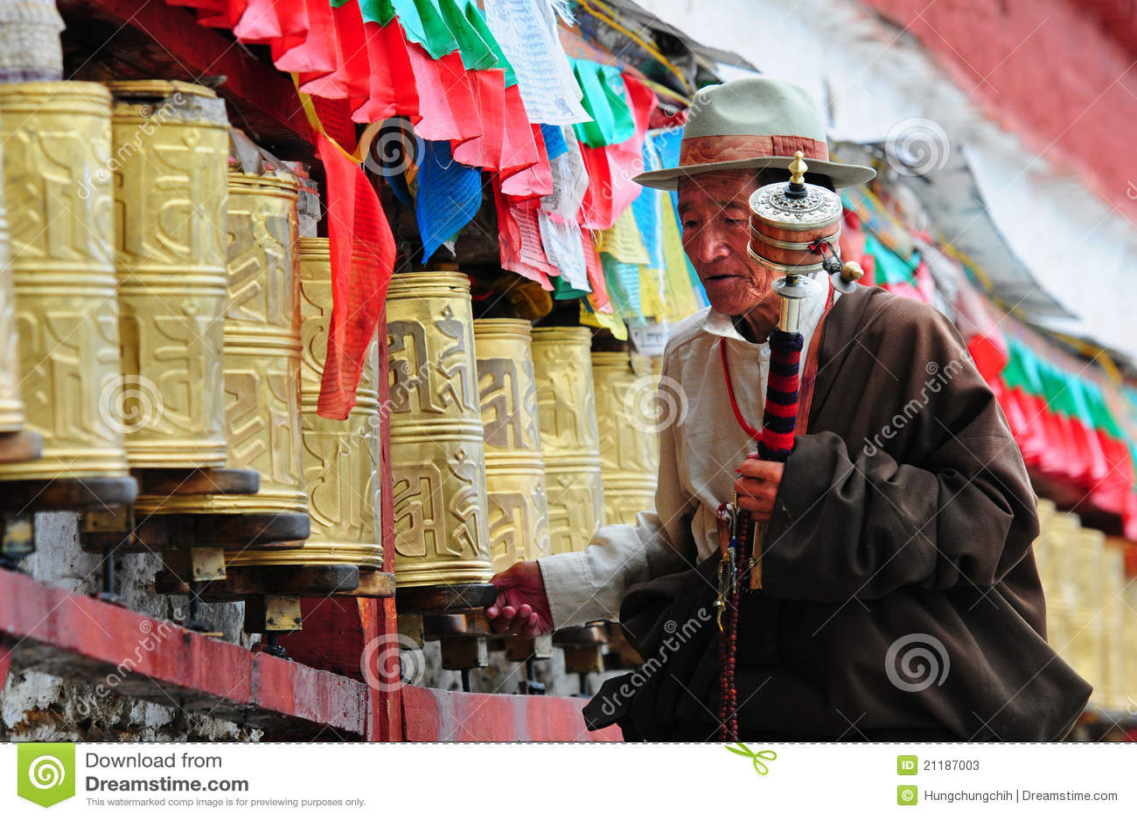 Tibetan pilgrim circles the Potala palace