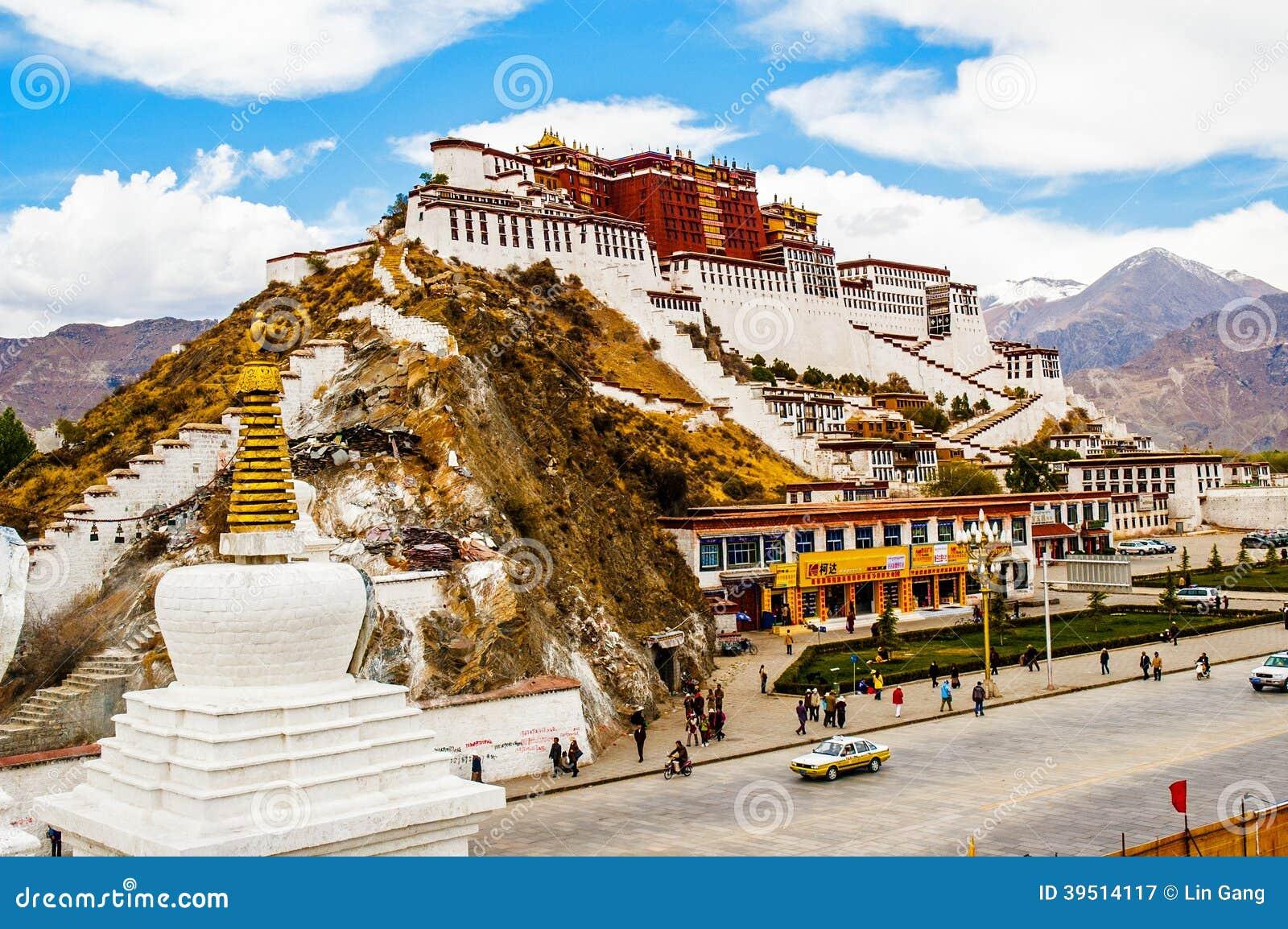 Tibetan plateau scene-Potala Palace and prayer Pagodas