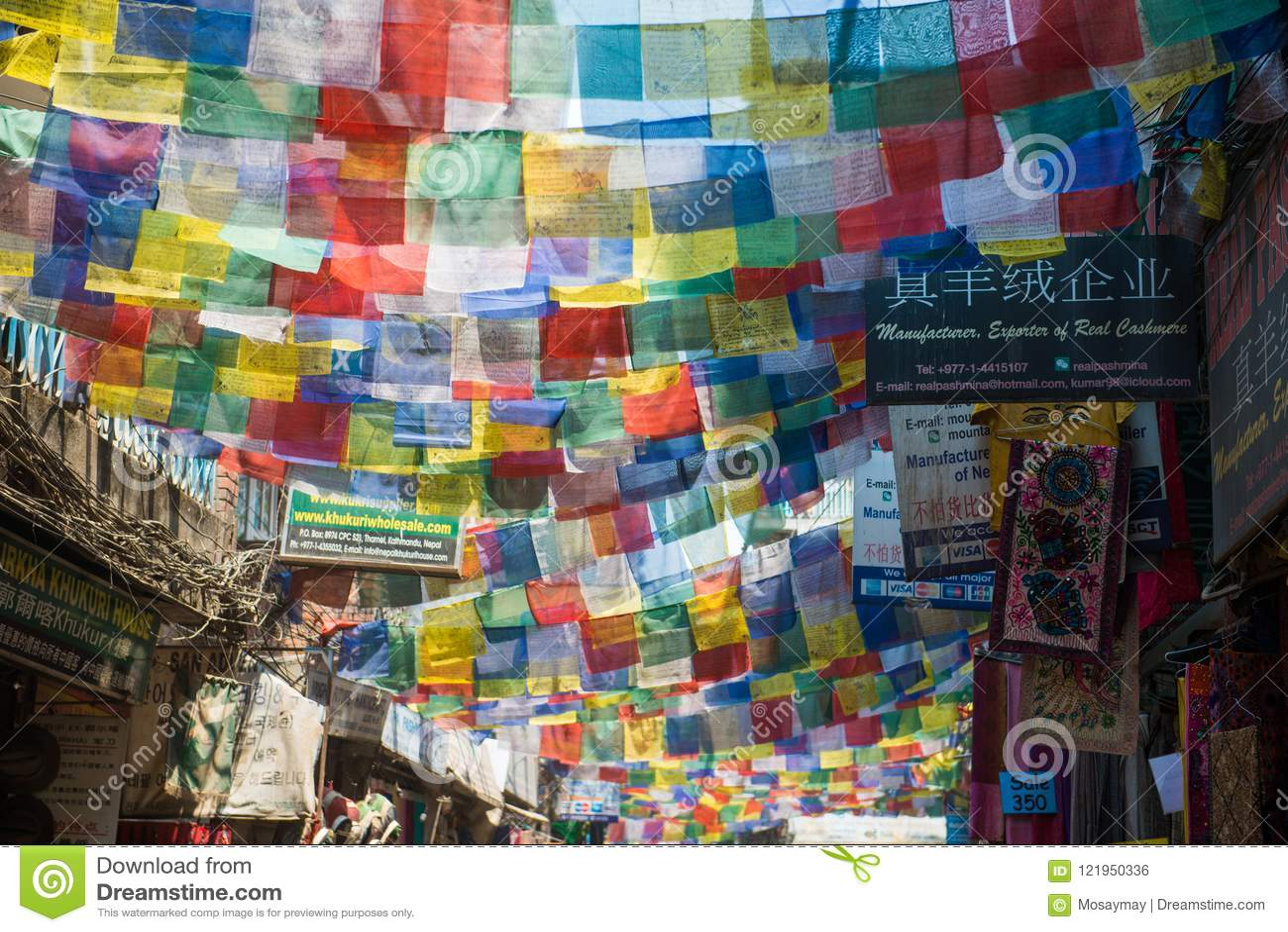 Tibetan Prayer Flags In Town At Kathmandu Nepal Editorial Photo