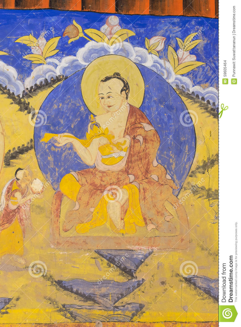 Tibetan Wall Painting Style At Thiksey Monastery Stock Photo - Image ...