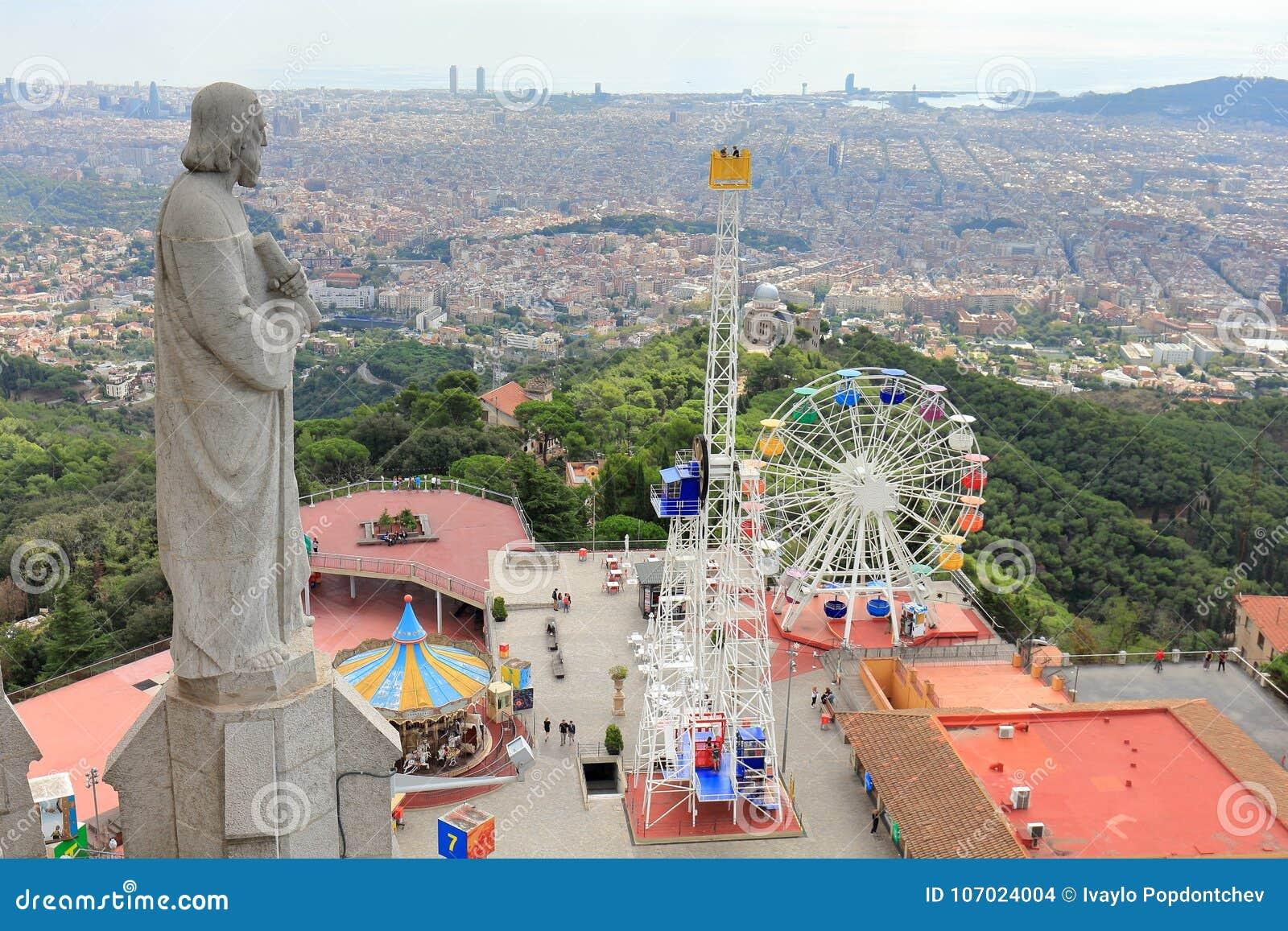 Tibidabo Amusement Park And The City Of Barcelona Seen From Sagrat Cor Church Barcelona Catalonia Spain Stock Photo Image Of Europe Mountain 107024004