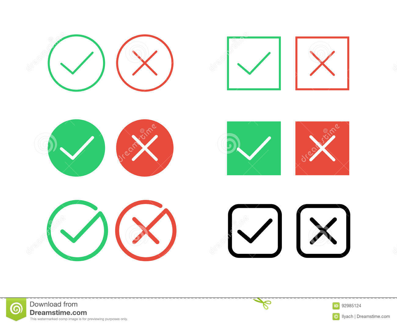 Tick check mark and decline cross vector icons for internet buttons