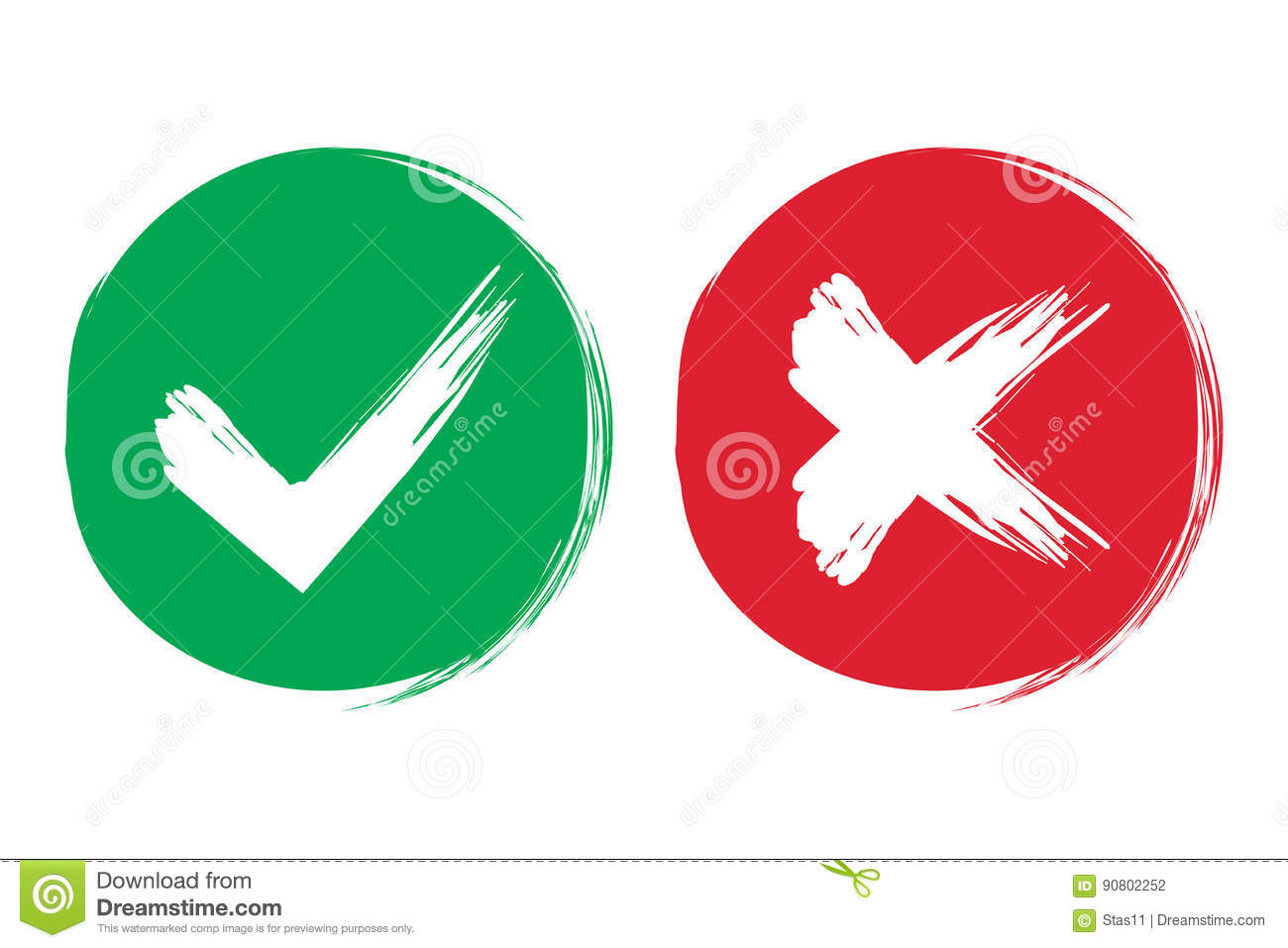 Tick And Cross Brush Signs. Green Checkmark OK And Red X ... X And Check Icon