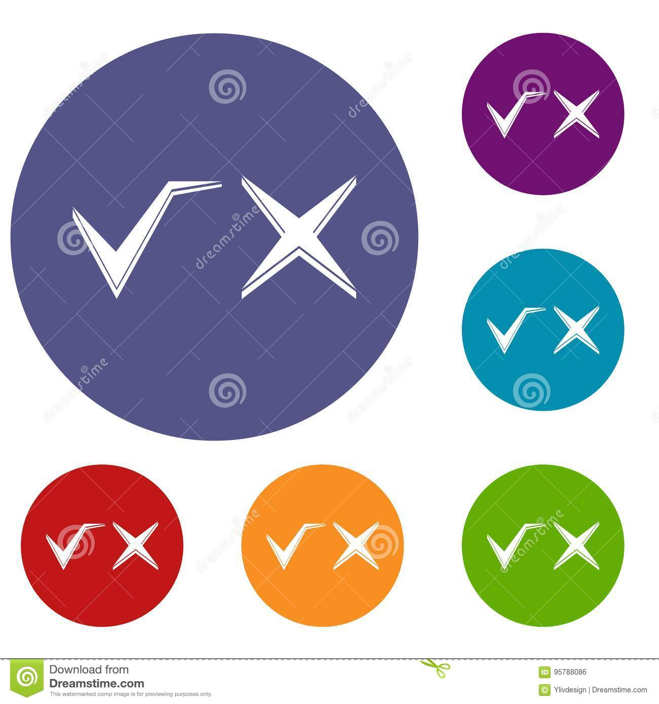 Tick And Cross Icons Set Stock Vector Illustration Of Interface
