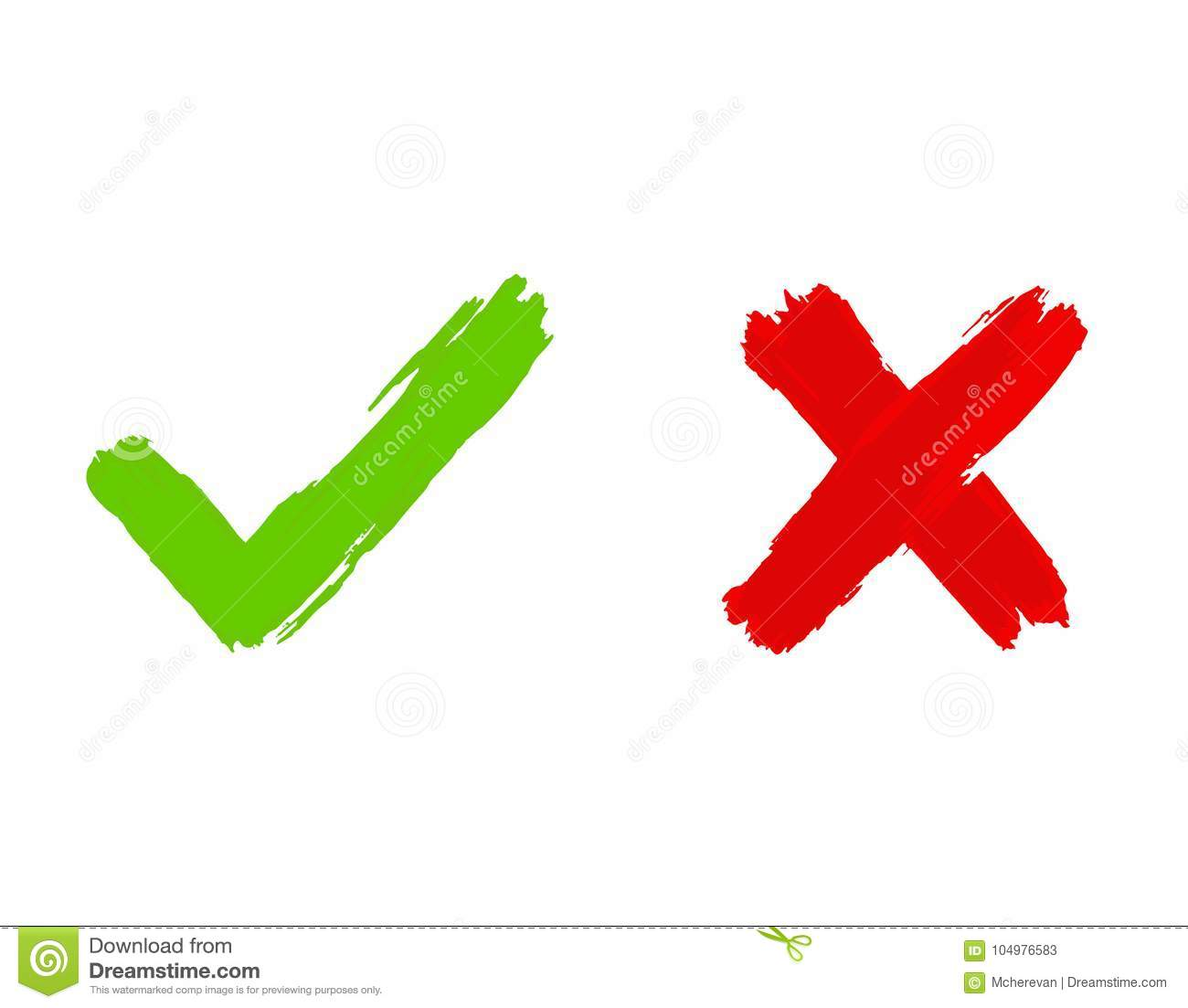 Tick And Cross Icons Yes No Symbols Green An Red Vector