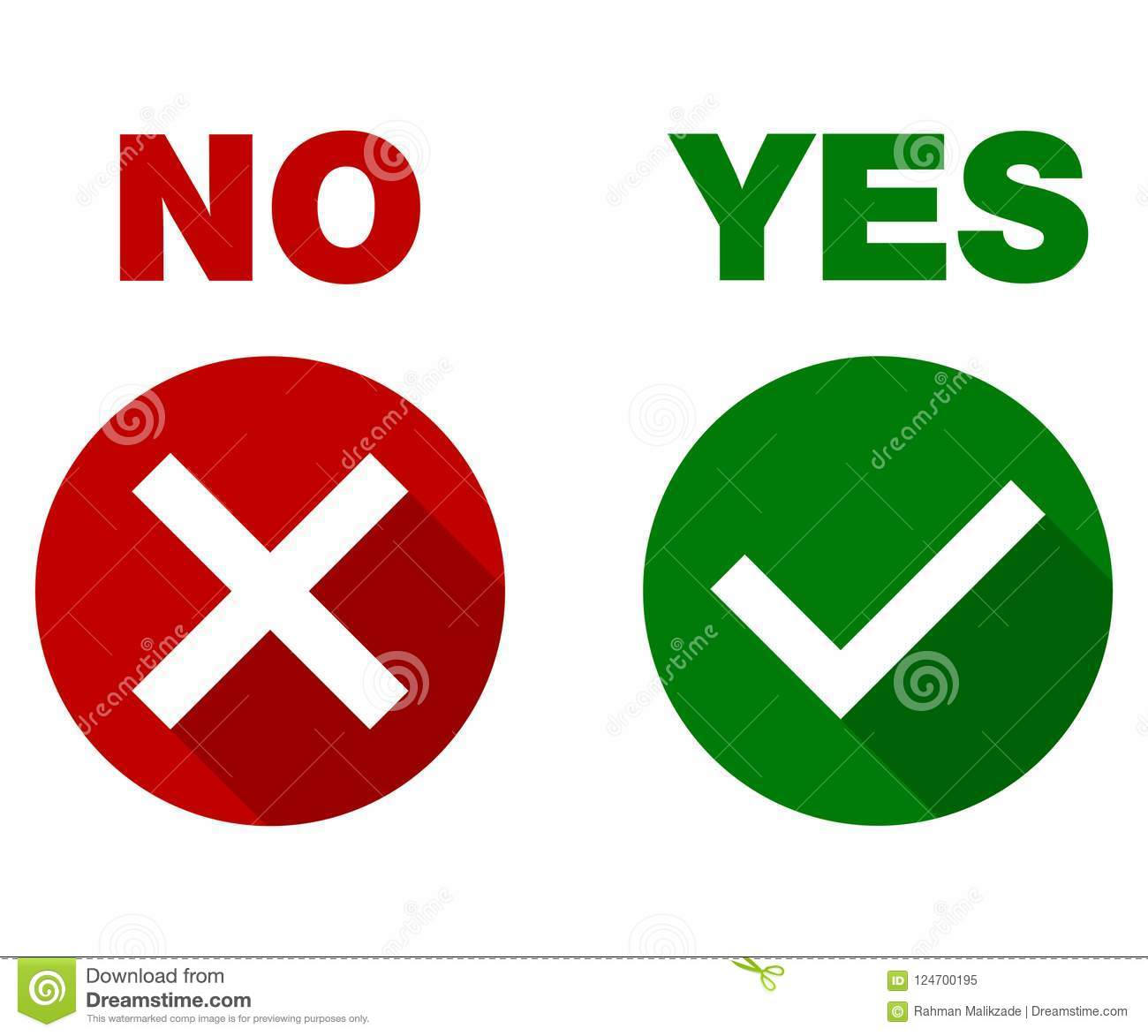 Tick and cross signs. Yes and No, Green checkmark OK and red X icons, isolated on white background.