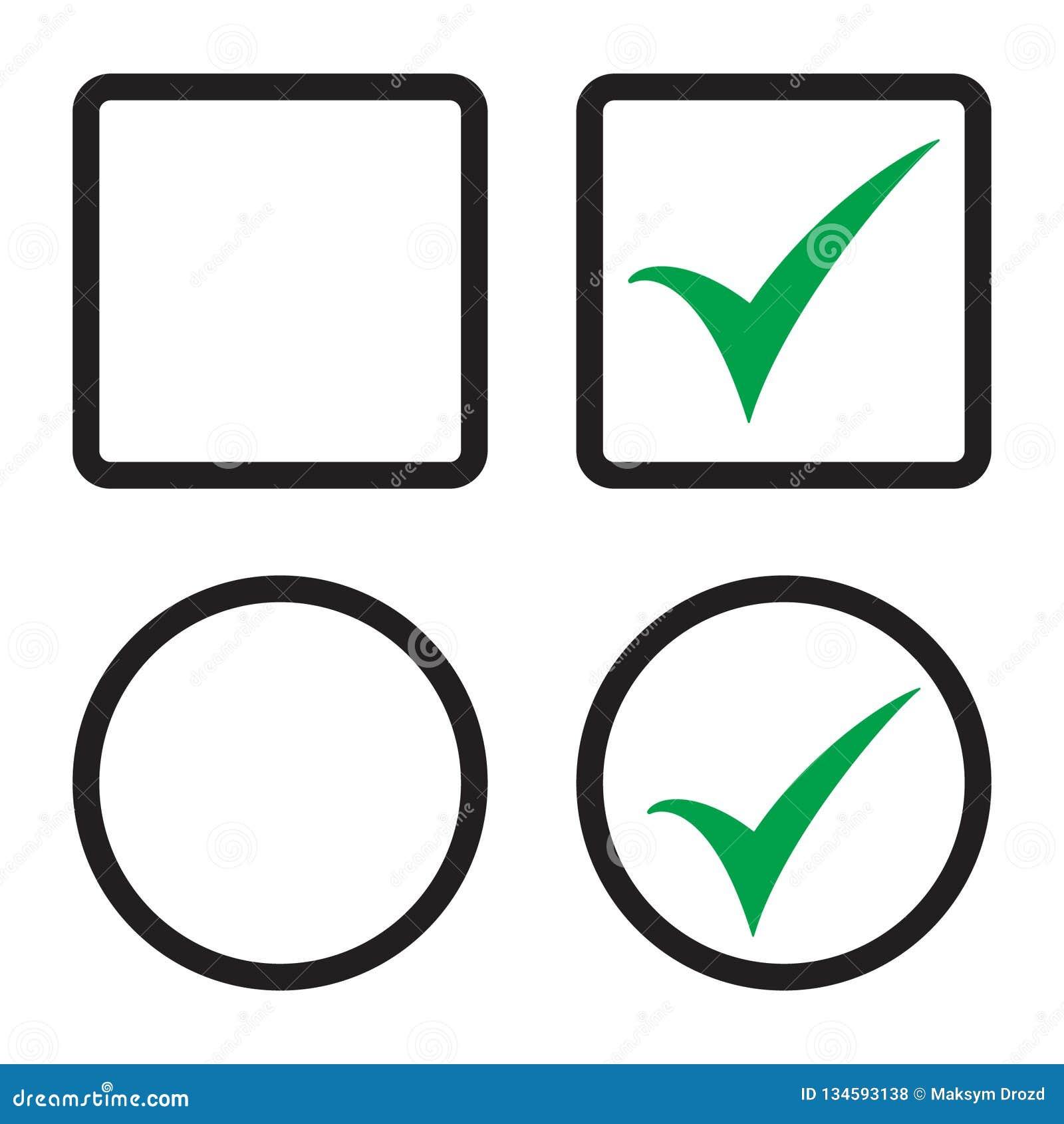 Tick Icon Vector Symbol, Checkmark Isolated Checkbox Set