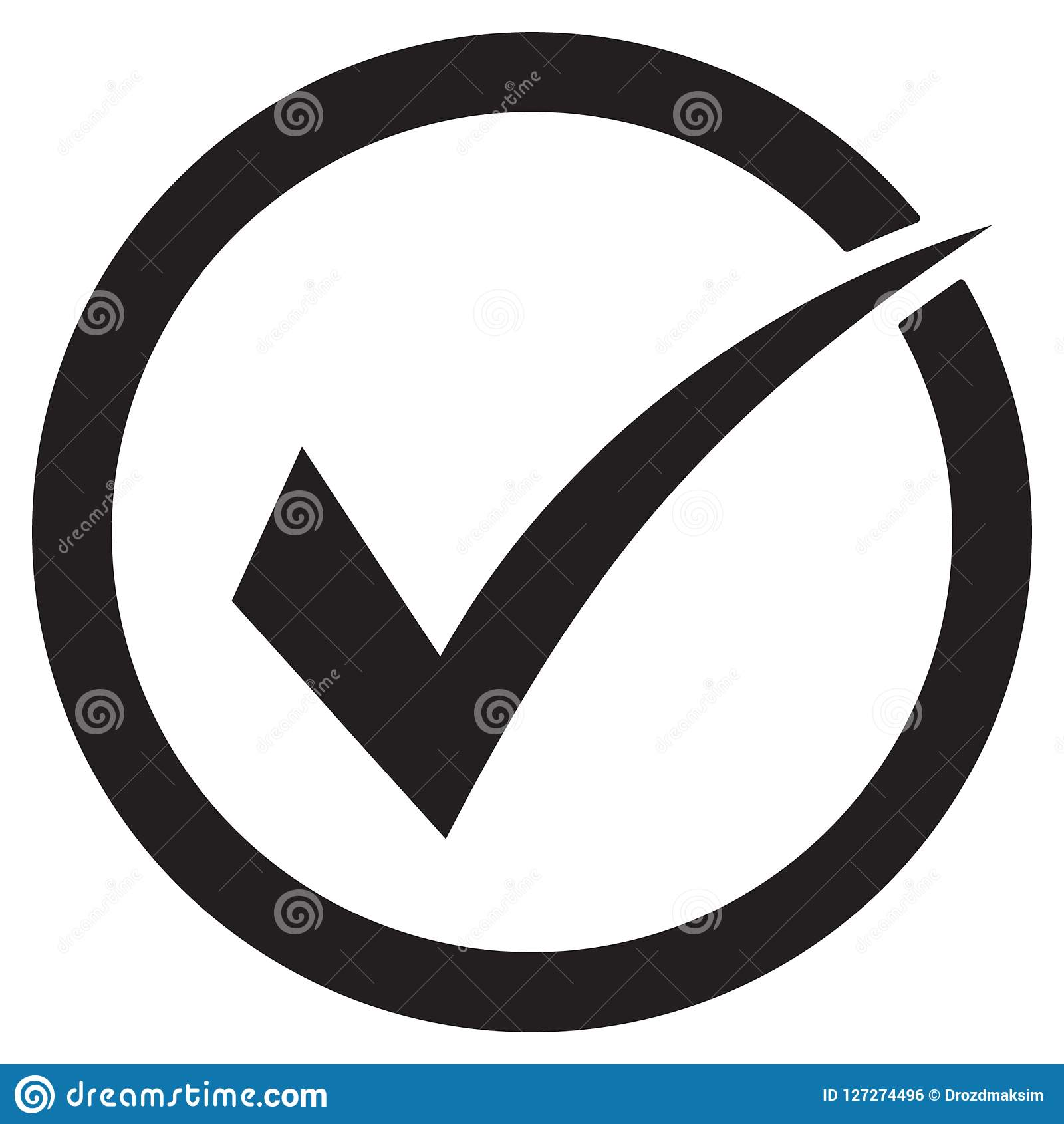Tick icon vector symbol, checkmark isolated on white background, checked icon or correct choice sign, check mark or checkbox picto