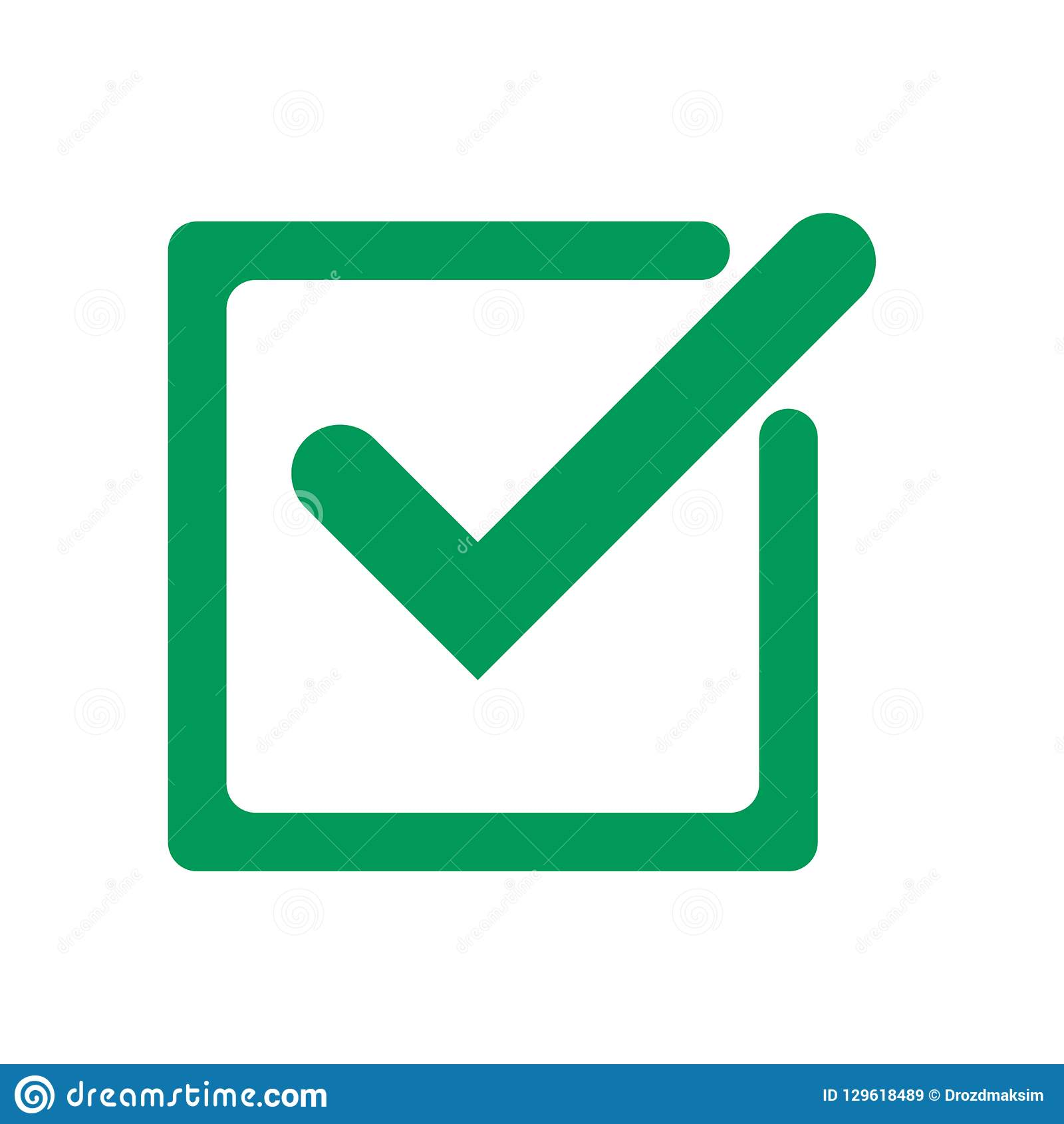 Tick icon vector symbol, green checkmark isolated on white background, check mark or checkbox pictogram