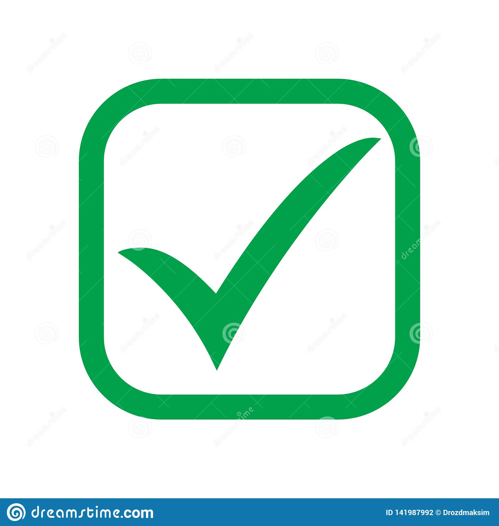 Tick Icon Vector Symbol, Green Checkmark Isolated On White