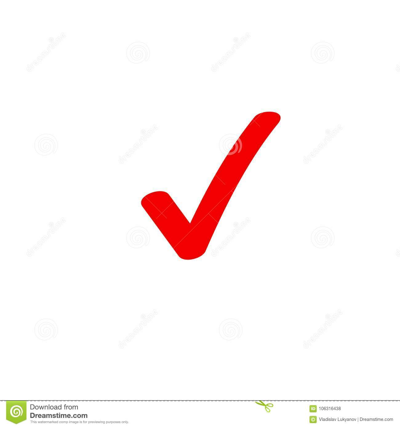 Tick Icon Vector Symbol Marker Red Checkmark Isolated On White
