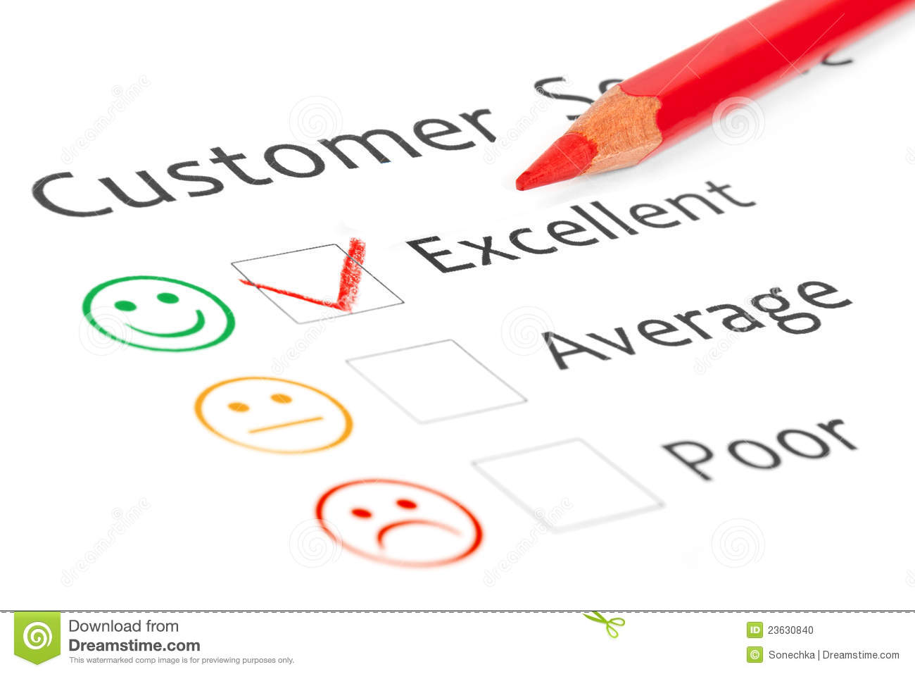 Tick placed in excellent checkbox on customer serv