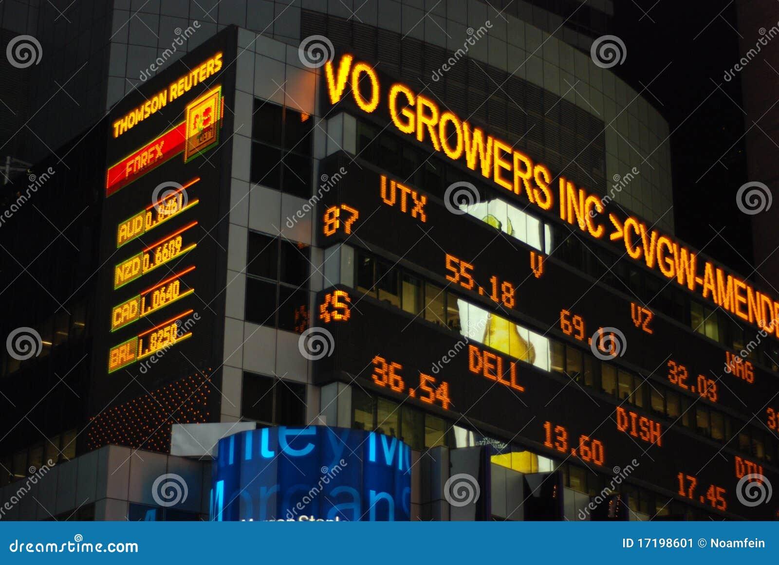 Ticker van de voorraad in Times Square