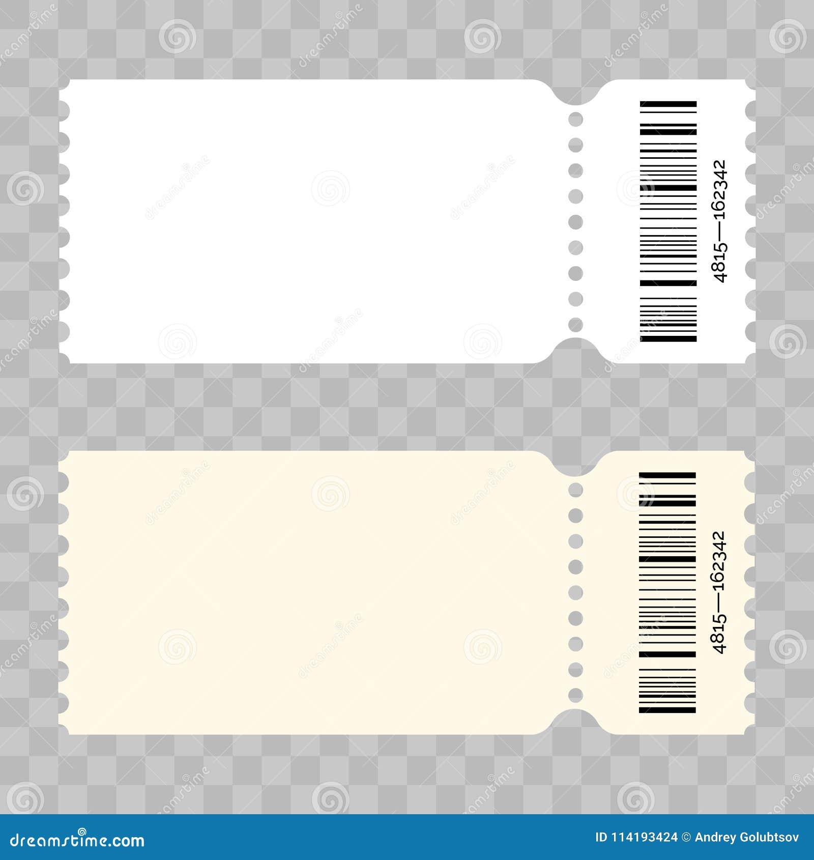 ticket blank vector modern white template stock vector