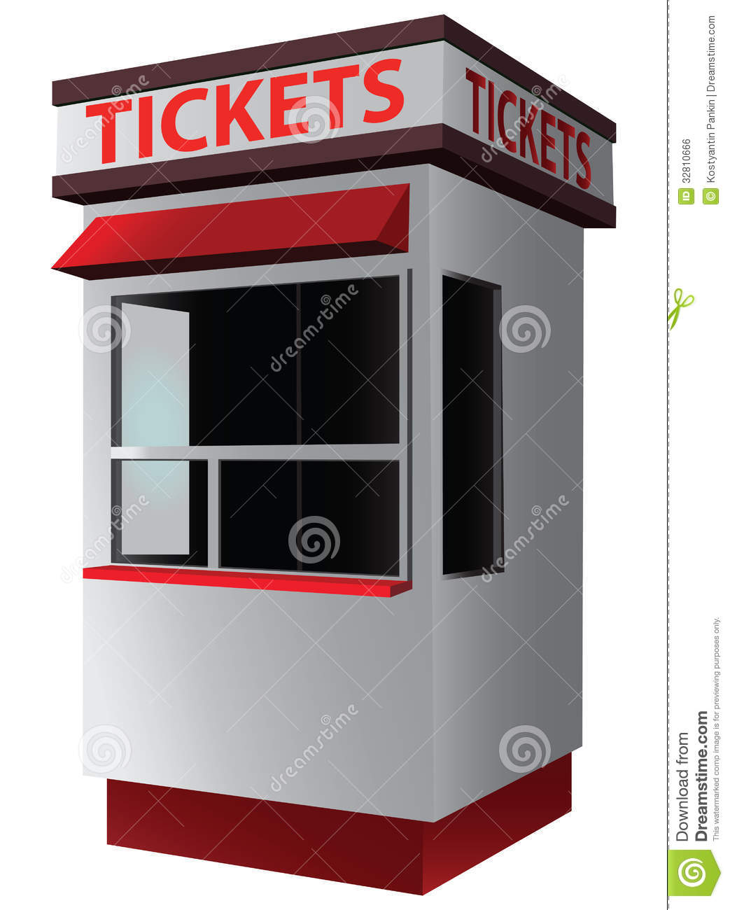 Ticket booth for the sale of tickets for attractions and sports ...