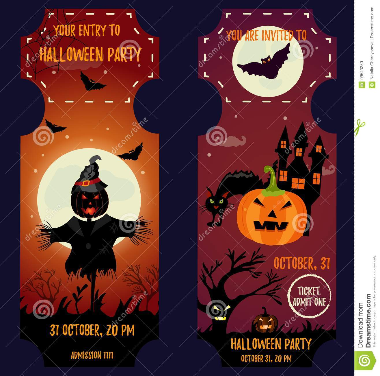 Ticket Halloween Party. Invitation Template. Halloween Background ...