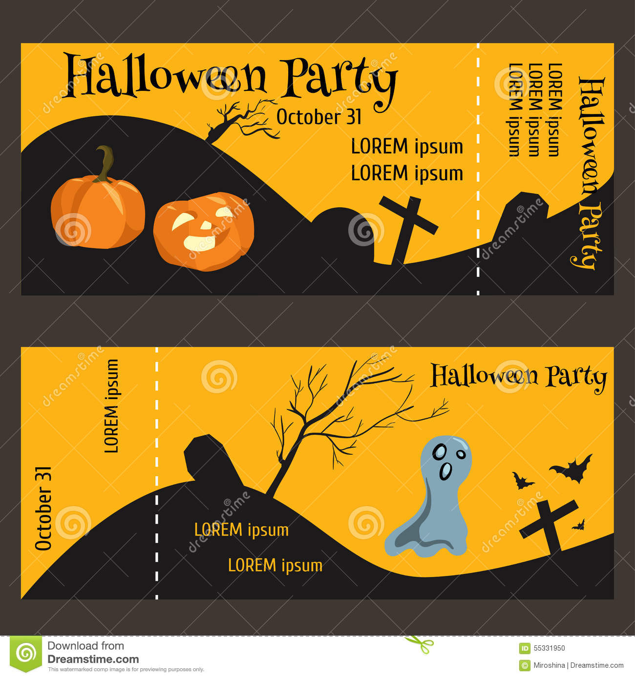 ticket for halloween party  two sided  with a tear off portion stock illustration image 55331950 cemetery clipart png cemetery monument clipart
